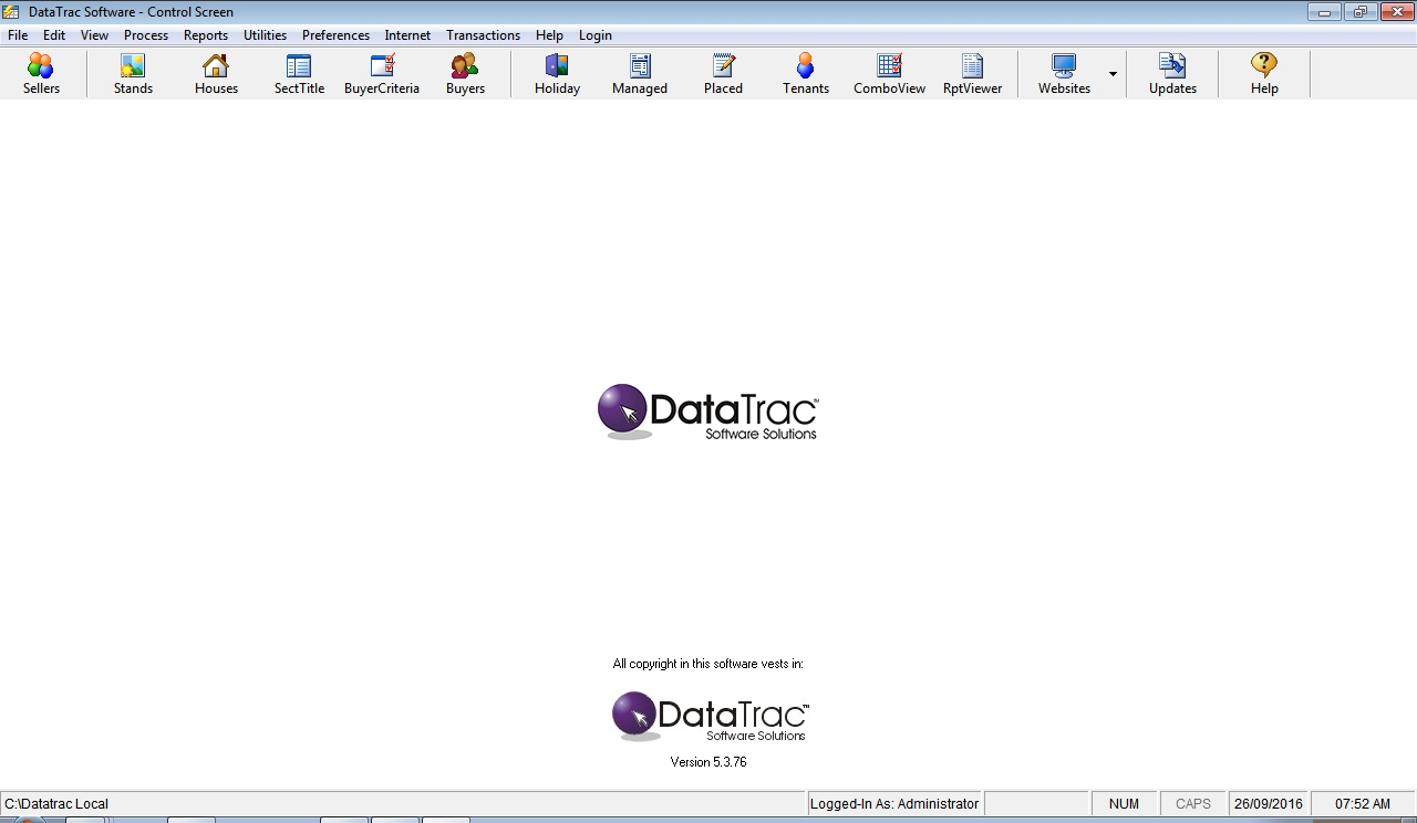 Management Screen Datatrac