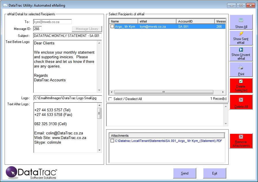 Report Viewer: Email Screen Datatrac Software Solutions