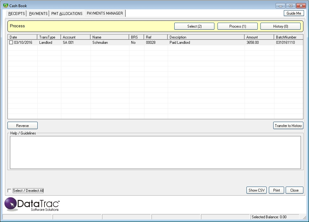 Bank Reconciliation Datatrac Rentals Management
