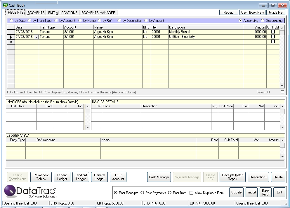 Receipts Payment Allocations Datatrac Rentals Management